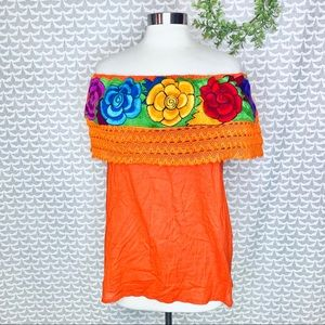 Tops - Campesina Mexican Embroidered Top Peasant Flowers
